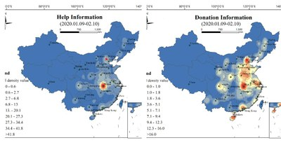 Distribution of Help and Donation hot spots in microblog in China