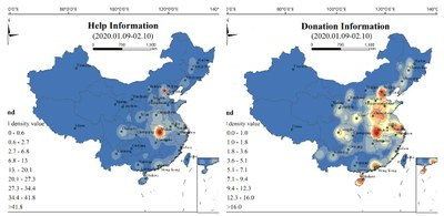 Figure 2: Distribution of help and donation hot spots according to microblogs in China (9 January to 10 February 2020)