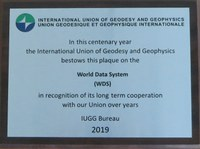 WDS Receives IUGG Commemorative Centennial Plaque